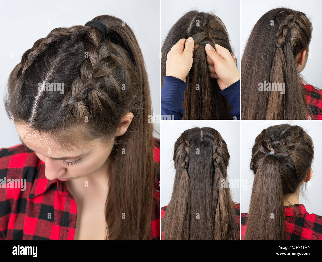 Simple Braided Hairstyle Tutorial Step By Step. Easy Hairstyle For Long Hair.  Pony Tail With Braid. Hair Tutorial