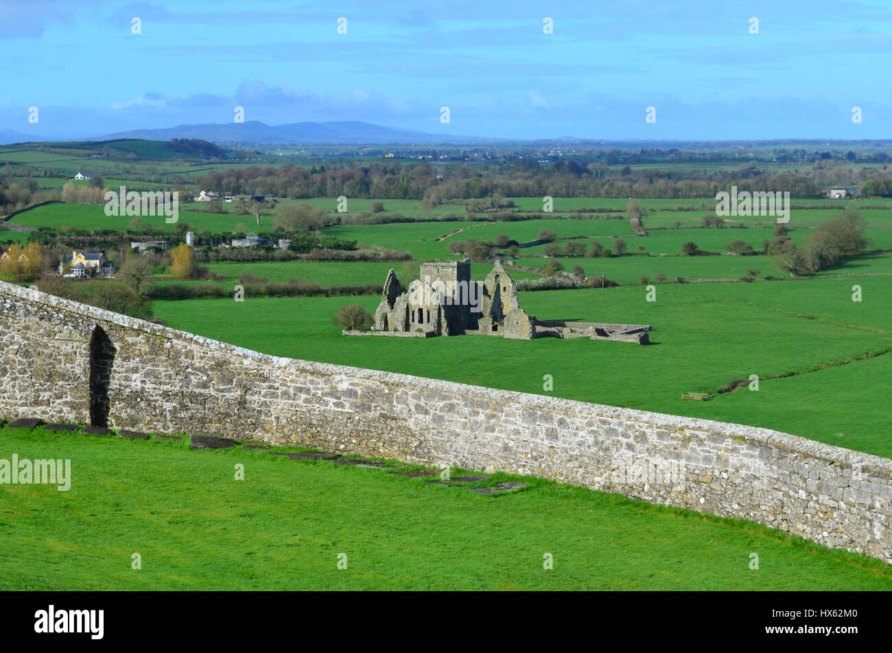 Old stone ruins of Hore Abbey as seen from the Rock of Cashel. - Stock Image