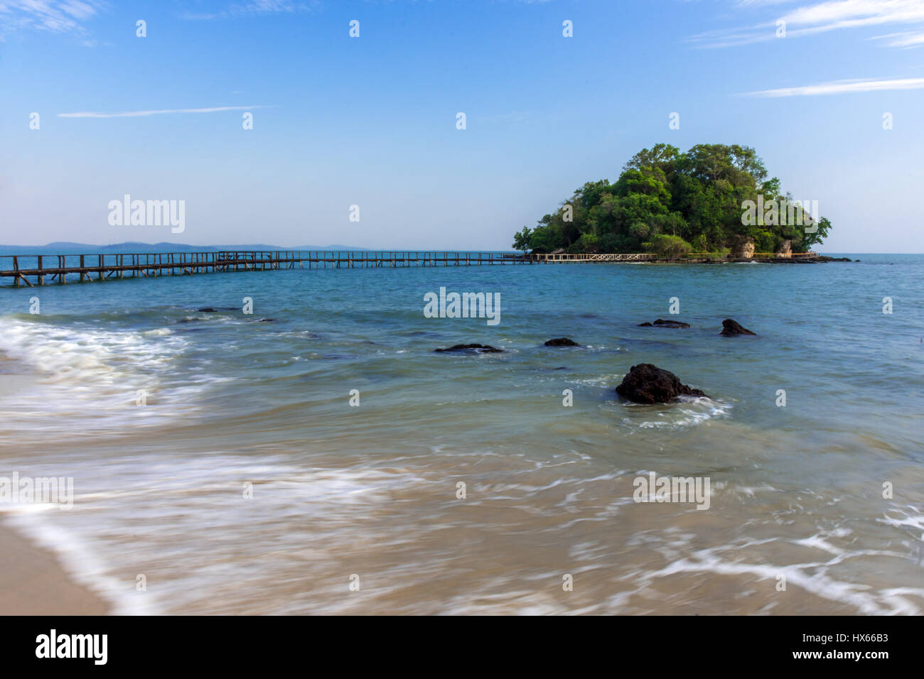 A Long exposure of Thinker's Island, Cambodia with its wooden walkway to it. - Stock Image