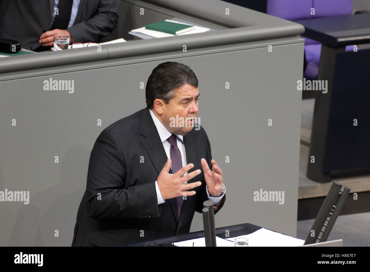 Berlin, Germany, September 25th, 2014: Minister of Economy Siegmar Gabriel holds speech in Bundestag. - Stock Image