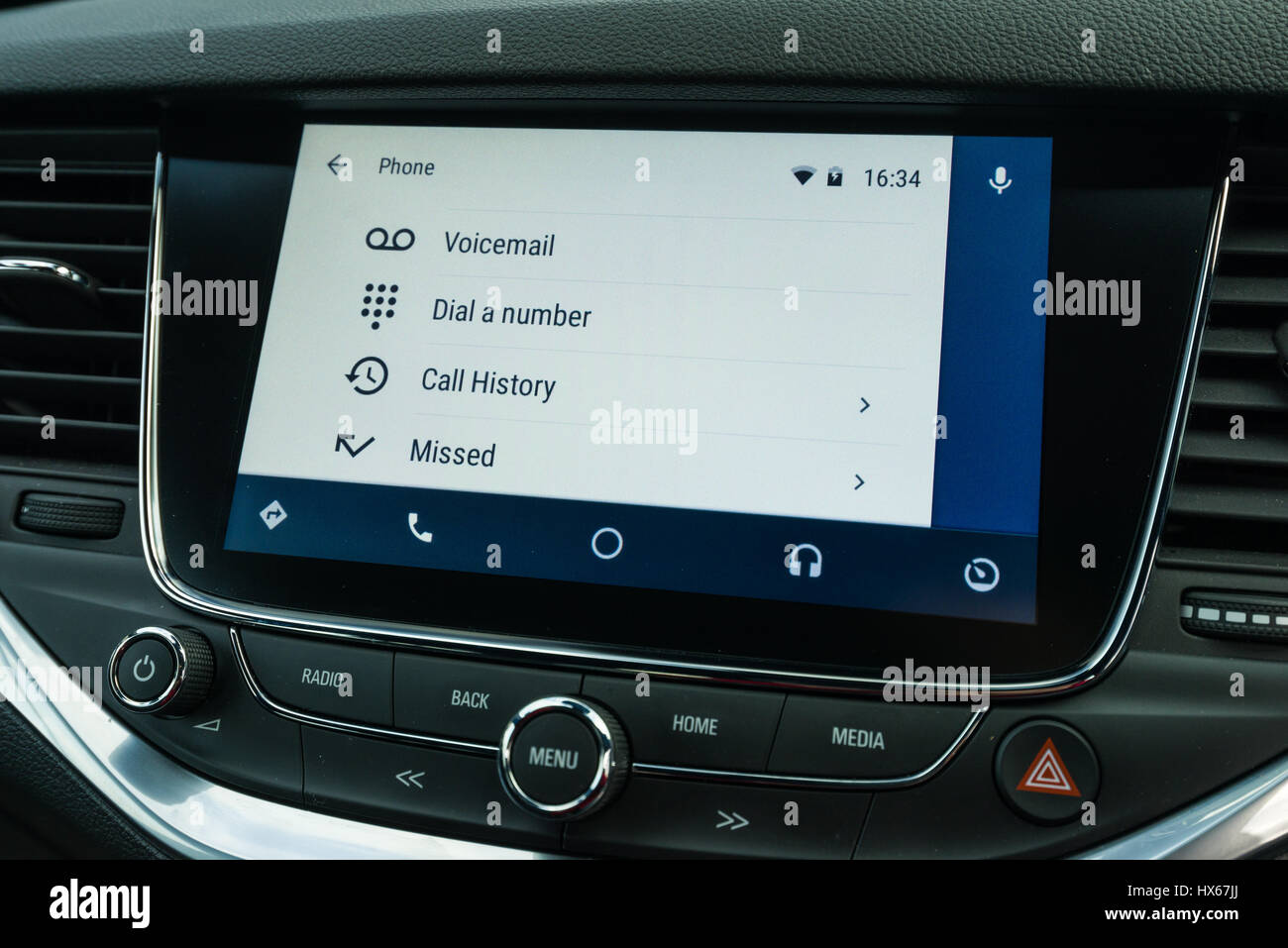 Android Auto Car Vehicle Navigation Interface Showing Phone Interface Options - Stock Image