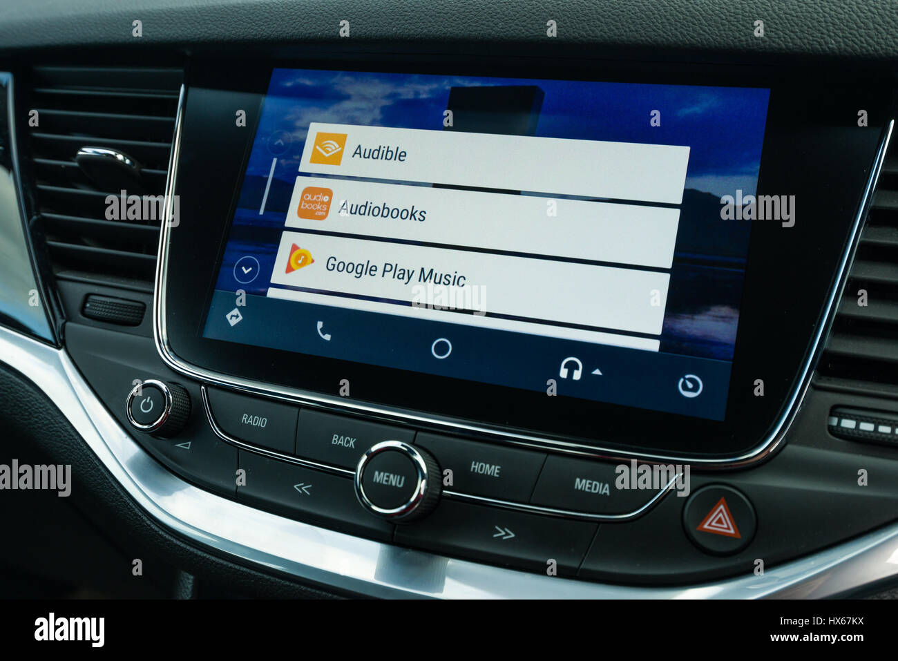 Android Auto Car Vehicle Navigation Interface Music App Selection Screen - Stock Image