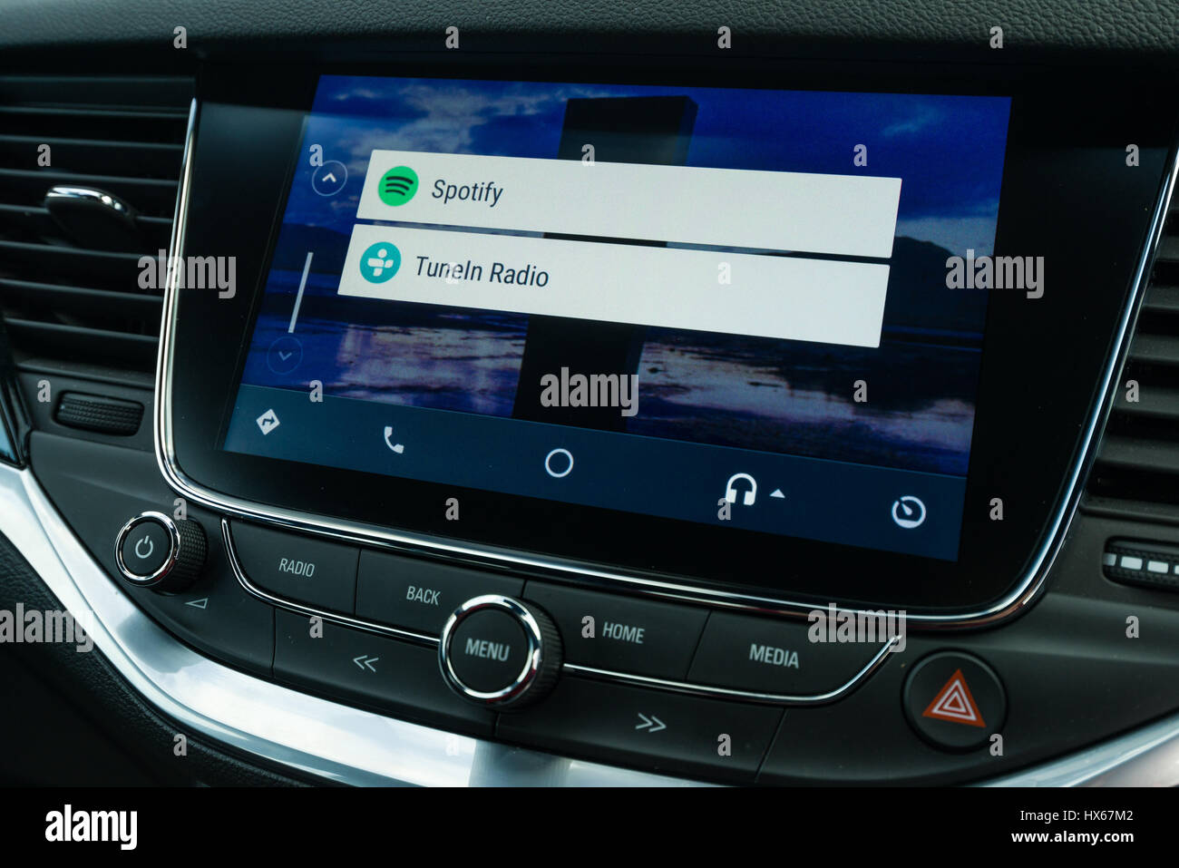Android Auto Car Vehicle Navigation Interface Music App Options - Stock Image