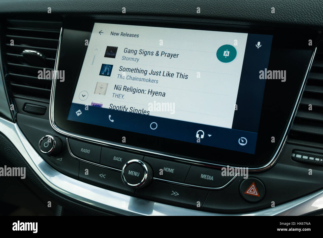 Android Auto Car Vehicle Navigation Interface With Spotify Screen
