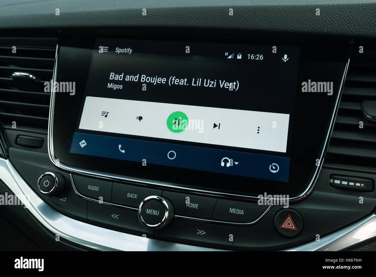 Android Auto Car Vehicle Navigation Interface Showing Spotify Music