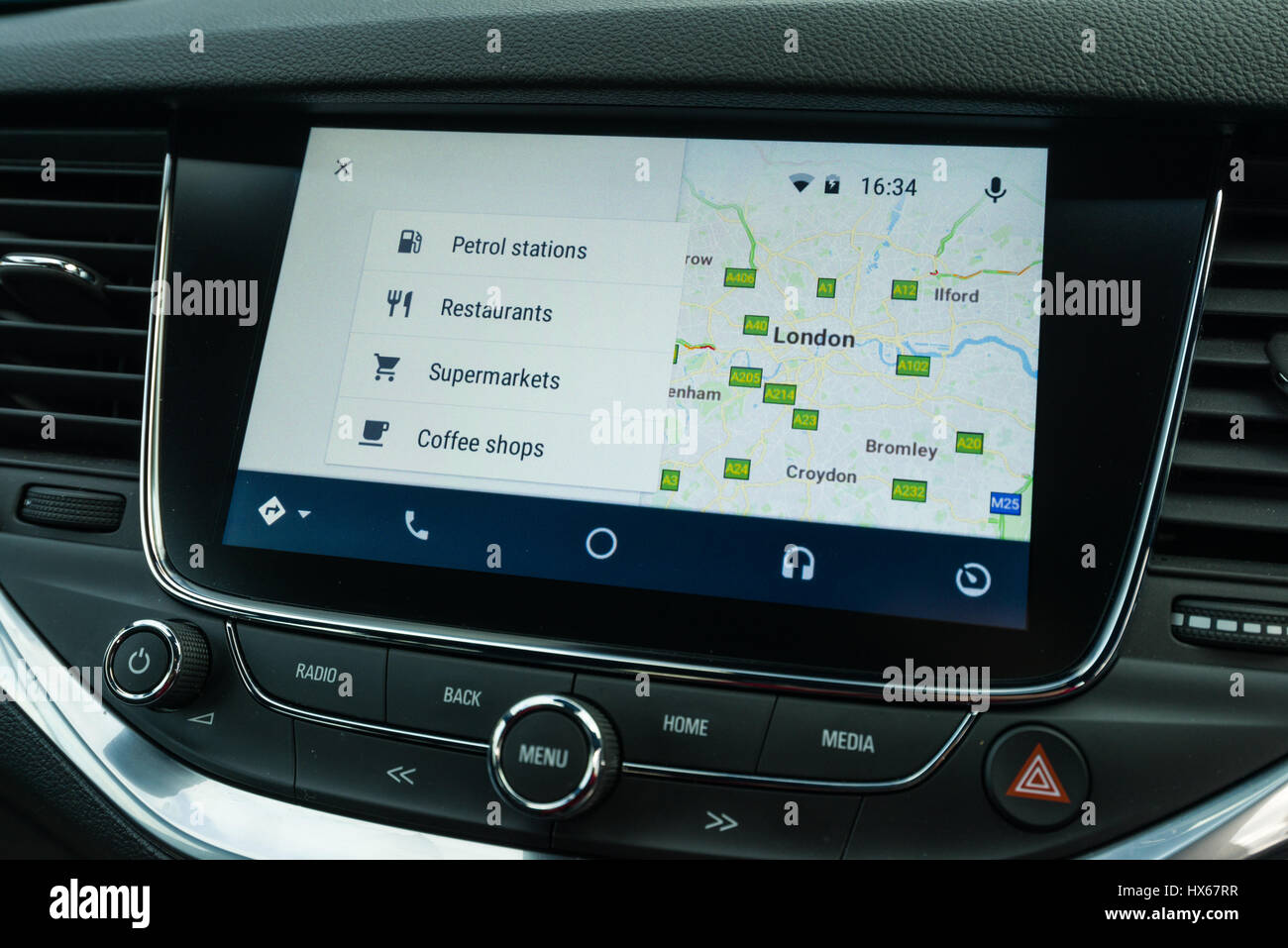 Android Auto Maps Navigation Car Vehicle Interface Showing