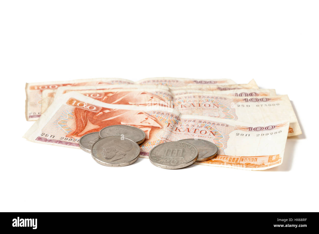 Greek drachma coins and banknotes - Stock Image