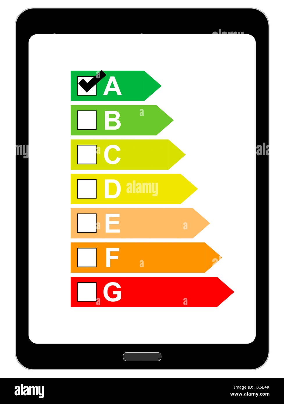 Tablet Computer with Energy usage Label Stock Photo
