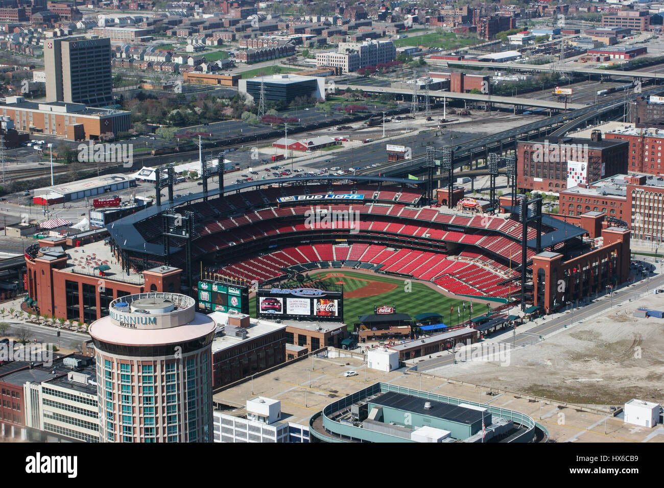 St. Louis - Circa May 2008: Busch Stadium - Home of the Cardinals - from the top of the Gateway Arch I - Stock Image