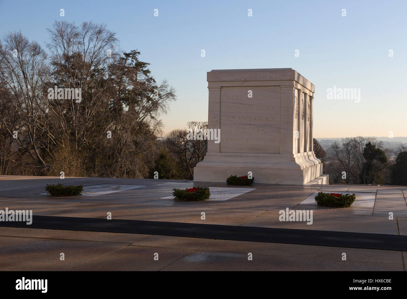 The Tomb of The Unknown Soldier decorated with Christmas wreaths in Arlington National Cemetery,  Arlington, VA, - Stock Image