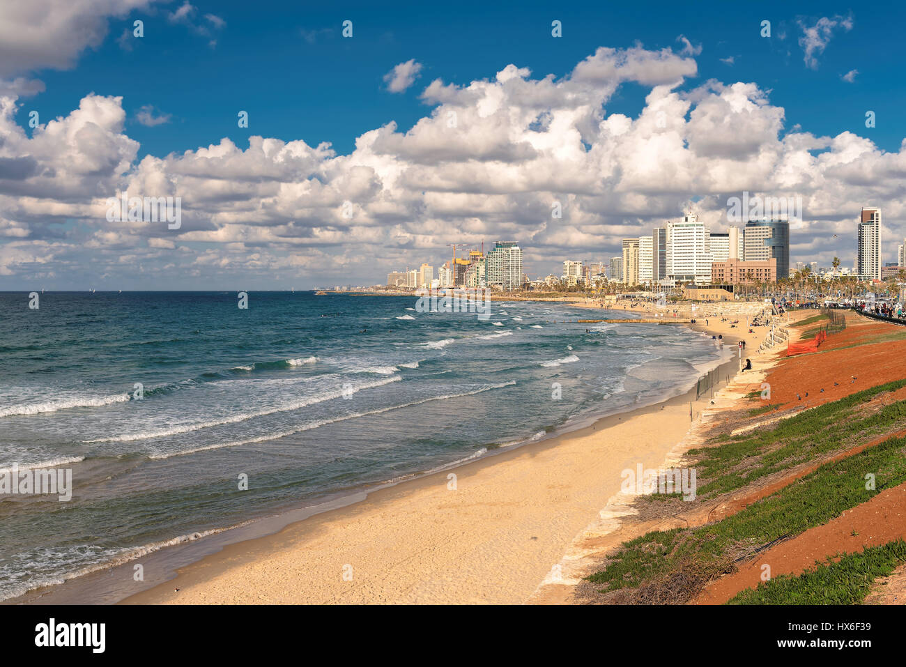 Tel Aviv coast with a view of Mediterranean sea and skyscrapers, Israel. - Stock Image