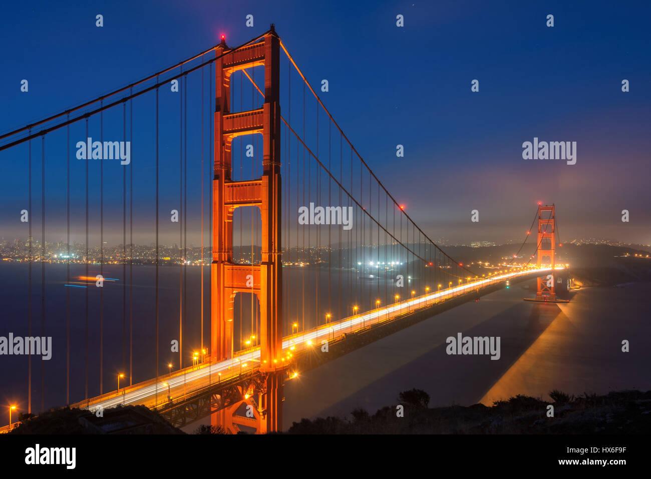 Golden Gate Bridge at night, San Francisco. - Stock Image