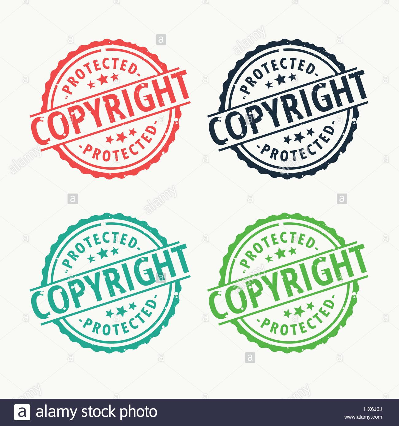 copyright badge rubber stamp set in different colors - Stock Image