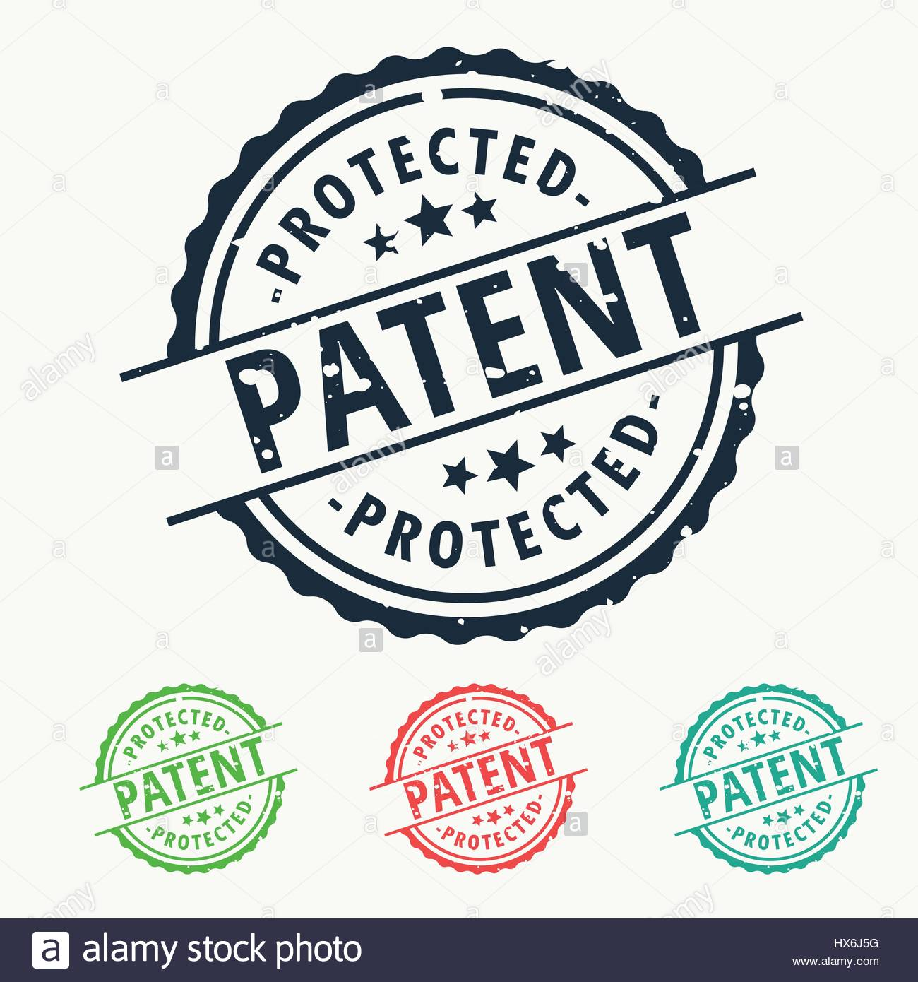 patent protected rubber stamp badge set - Stock Image