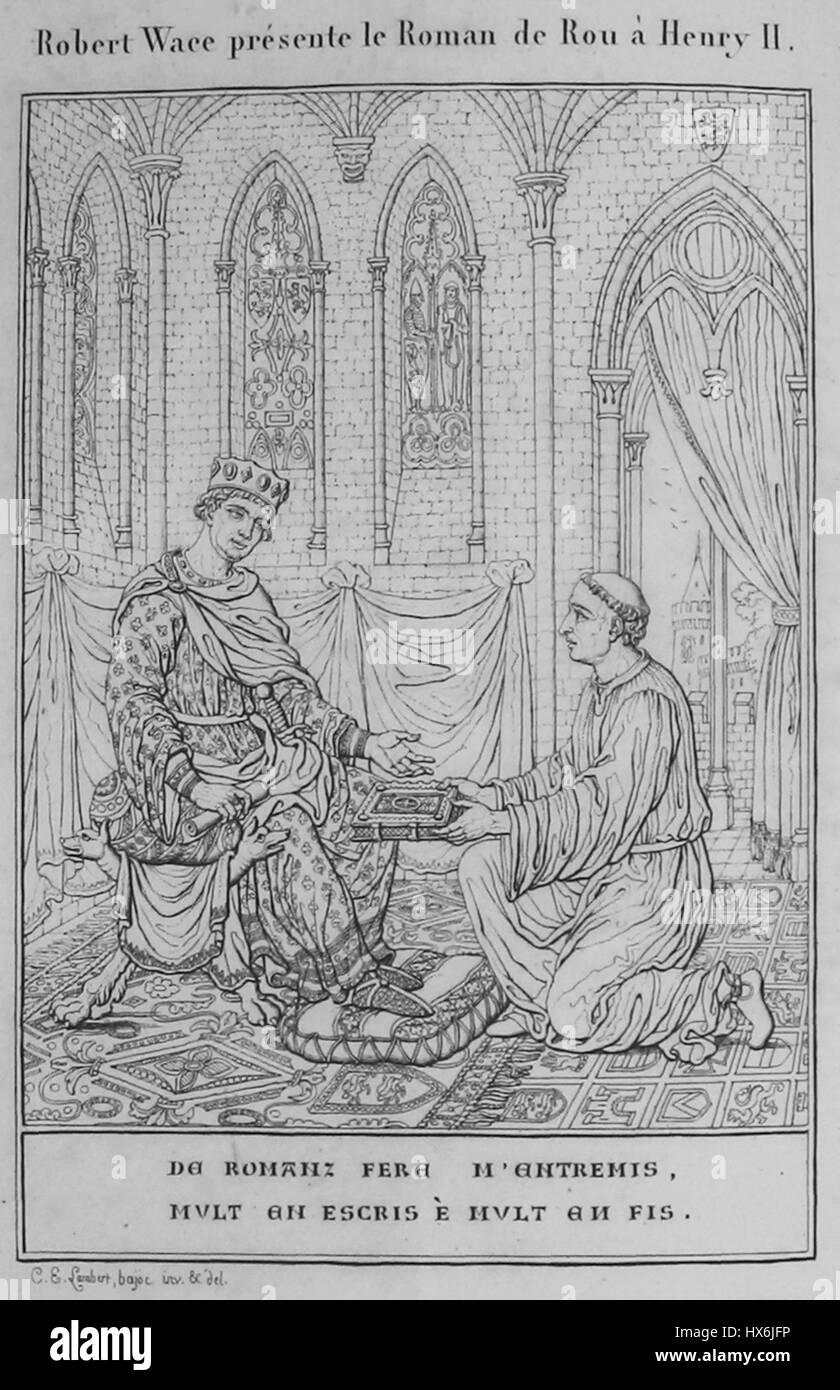 Wace illustration Roman de Rou 1824 Stock Photo