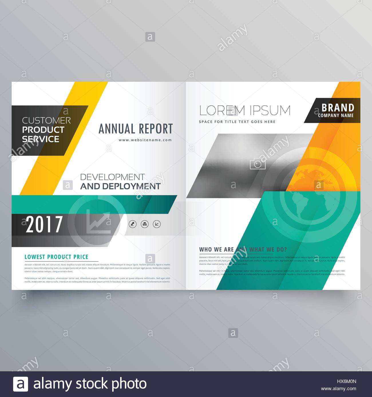 yellow and blue modern magazine cover bifold brochure template