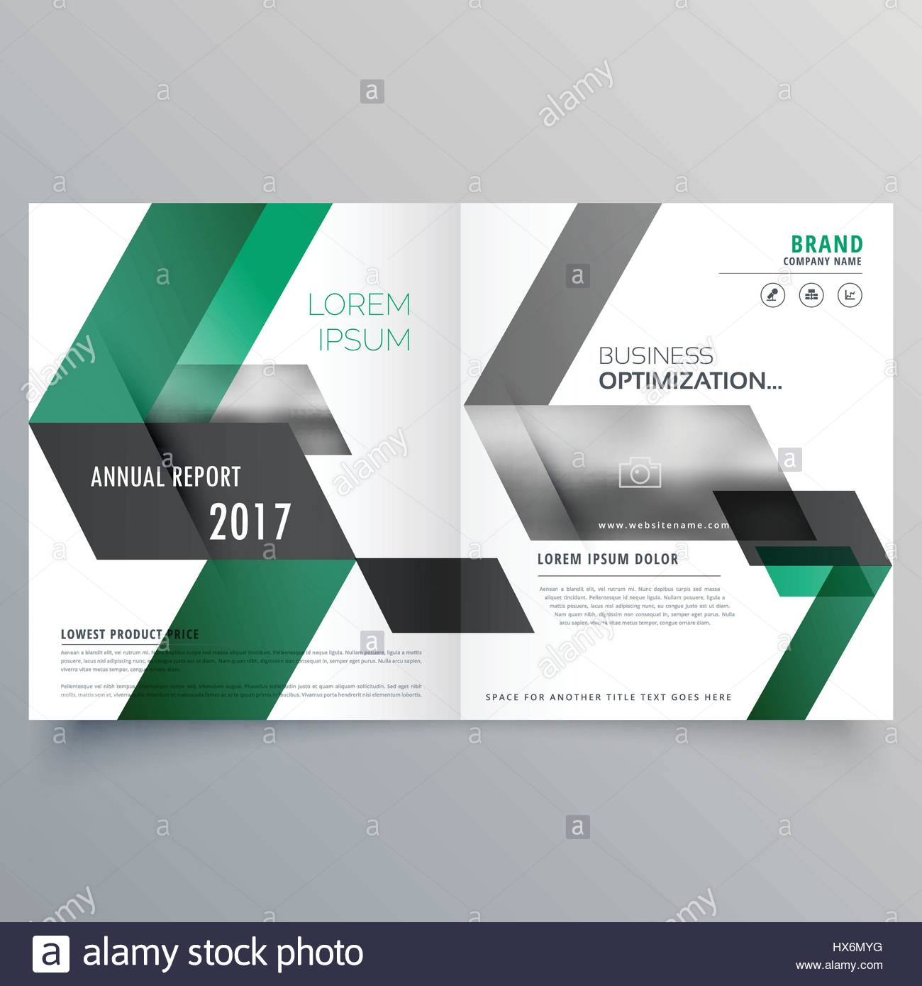abstract bifold business brochure design template with green shapes