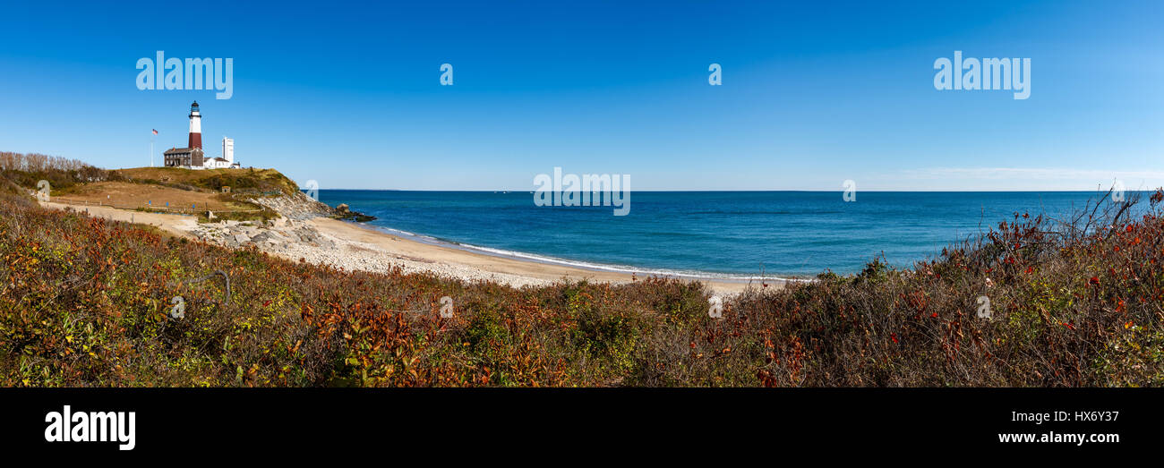 Panoramic view on Montauk Point State Park Lighthouse and the Atlantic Ocean. Long Island, New York State - Stock Image