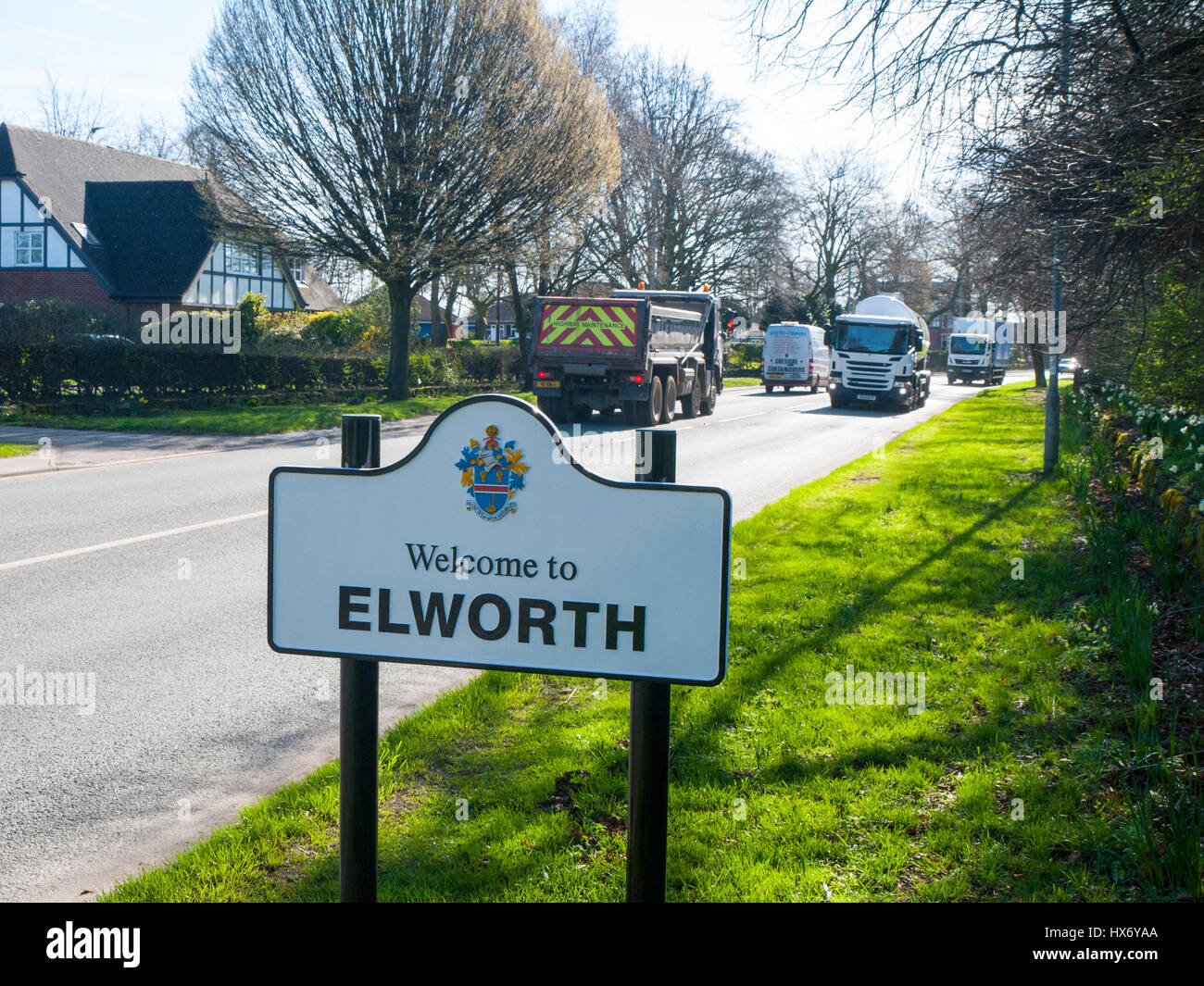 Welcome to Elworth Sign Cheshire UK - Stock Image