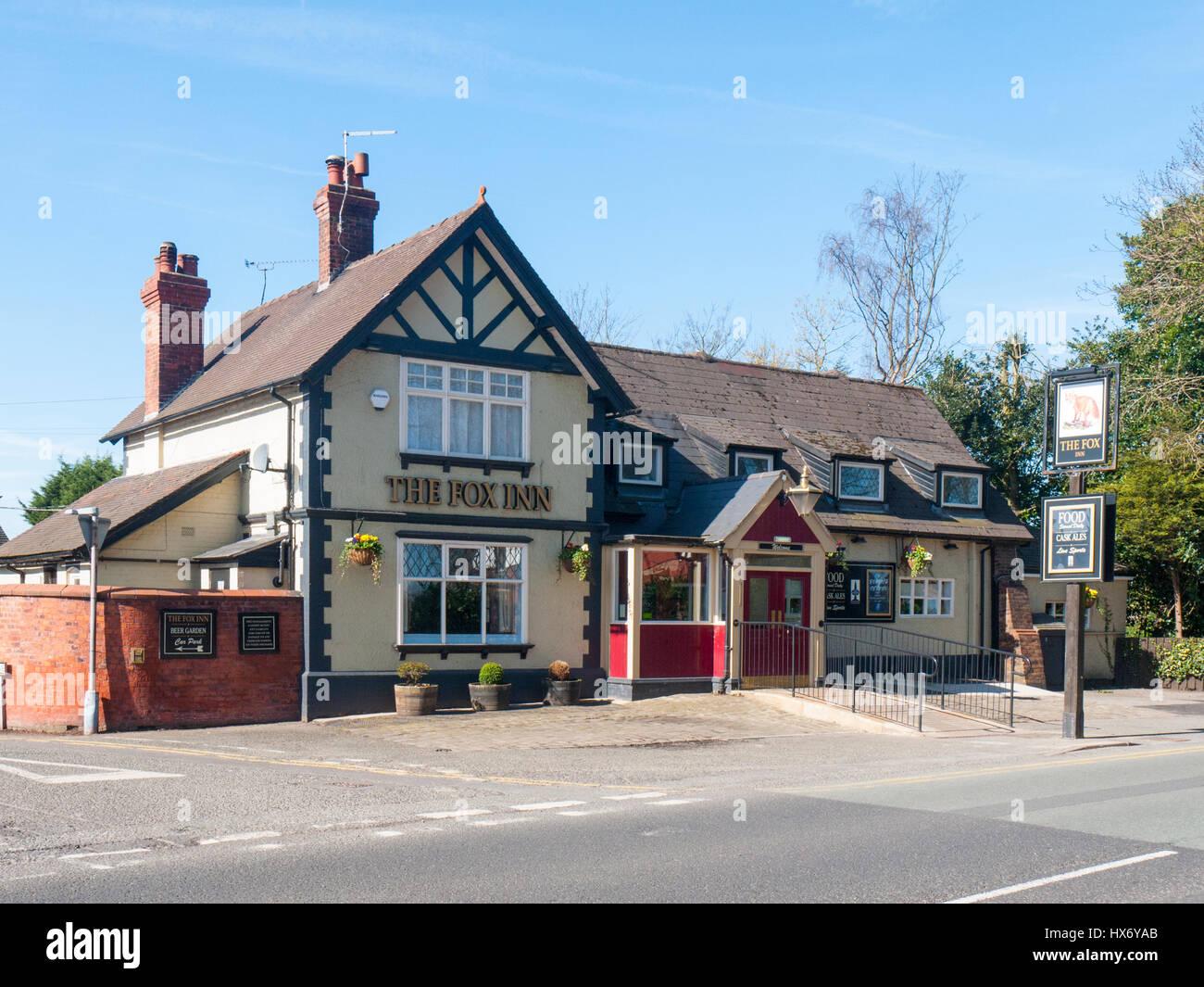 The Fox Inn public house in Elworth Sandbach Cheshire UK - Stock Image