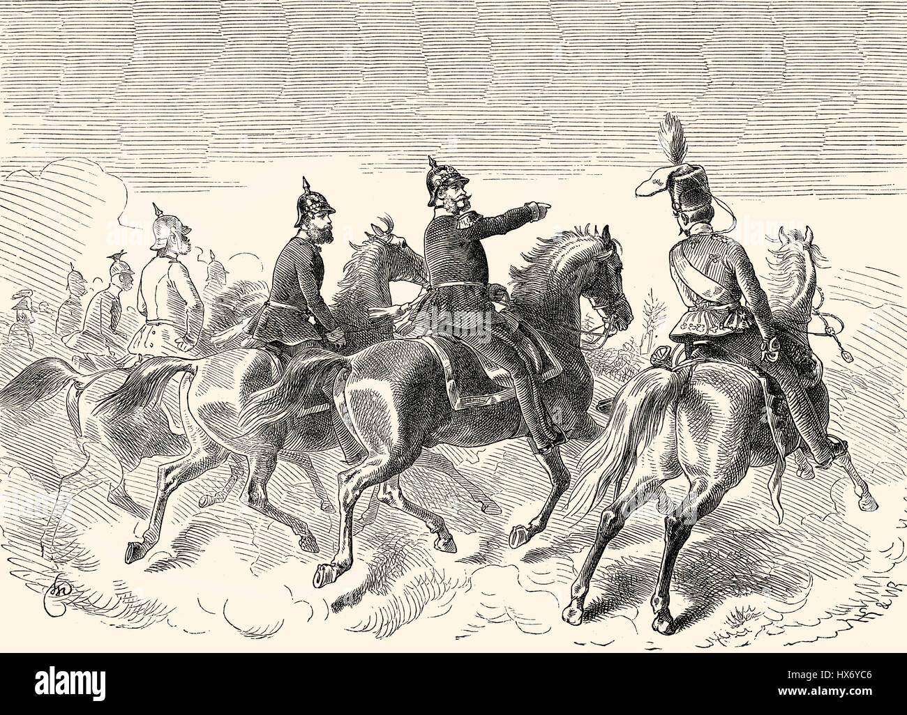 William I  at the Battle of Dybbøl, a battle of the Second Schleswig War, 1864 - Stock Image