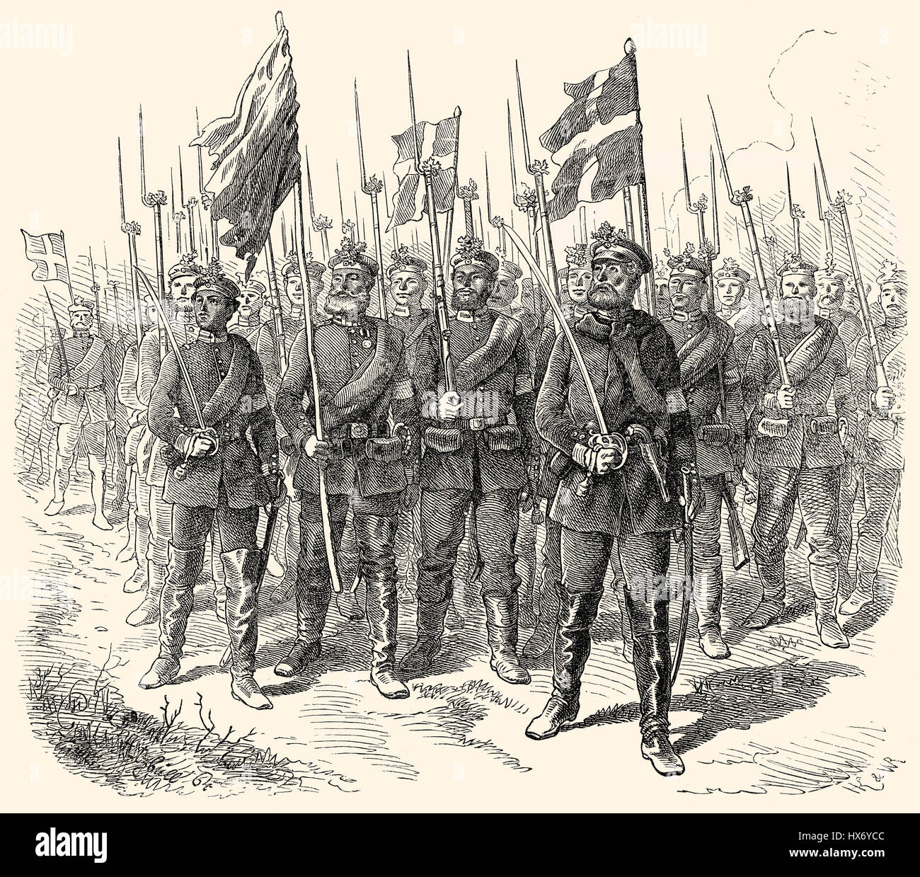 Military parade before King William I after the Battle of Dybbøl, a battle of the Second Schleswig War, 1864 - Stock Image