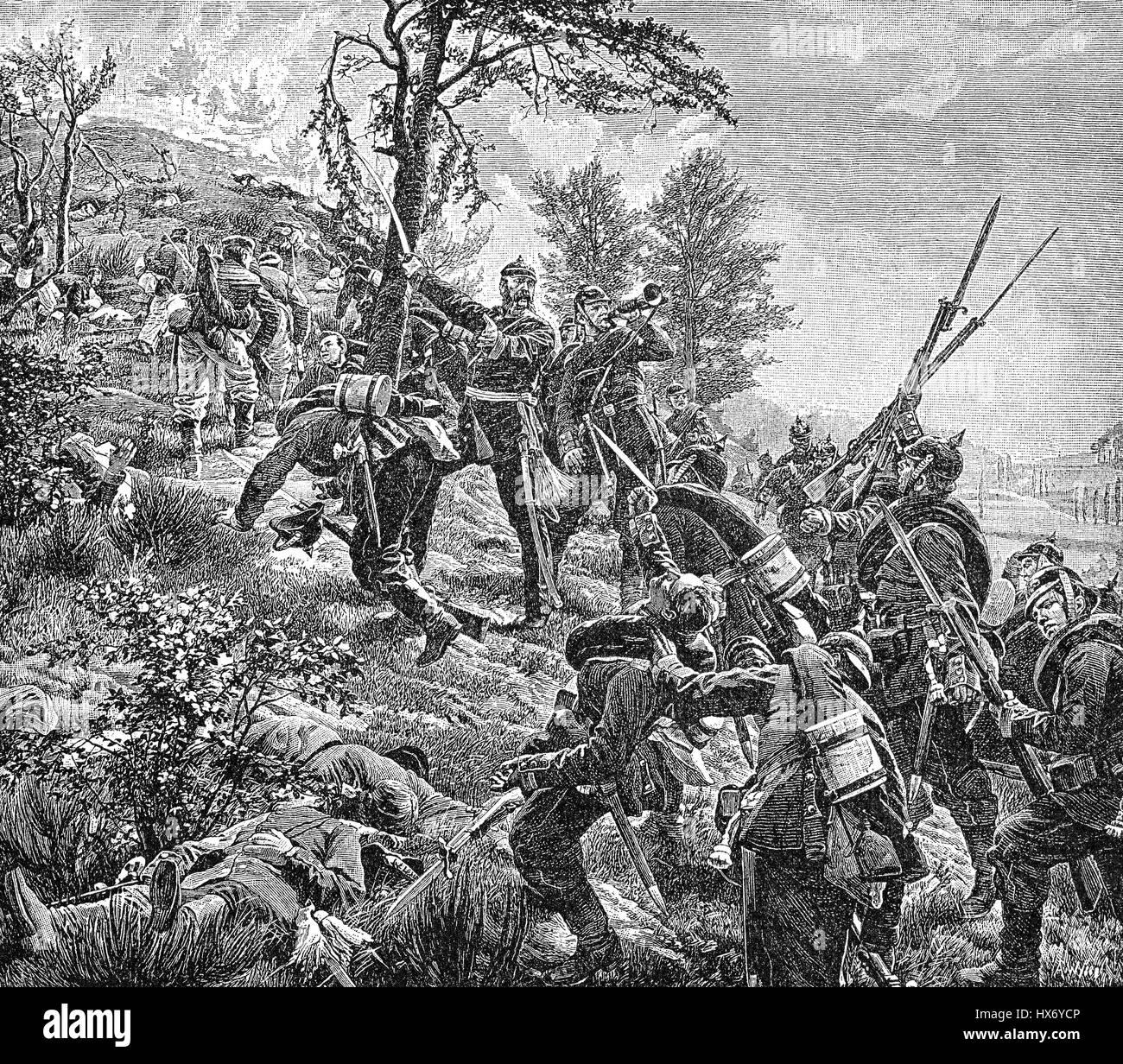 Battle of Spicheren or Battle of Forbach, 6 August 1870, Franco-Prussian War Stock Photo
