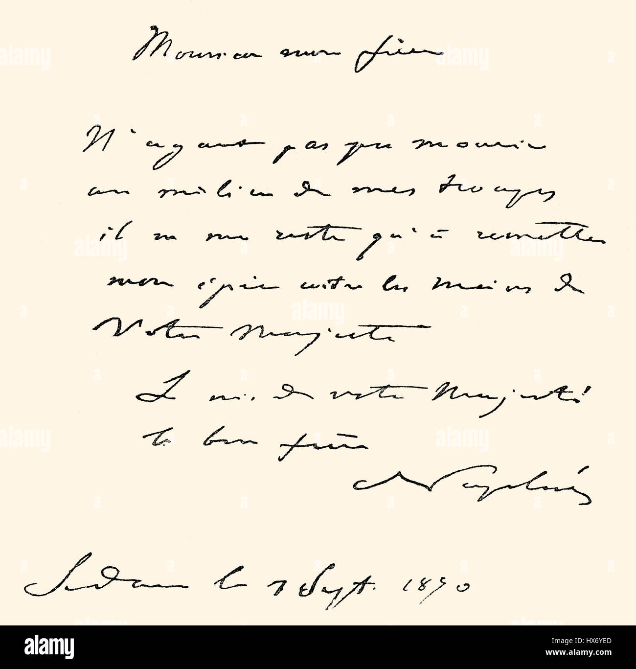 Handwritten letter by Napoleon III to William I after the Battle of Sedan, 1870 - Stock Image