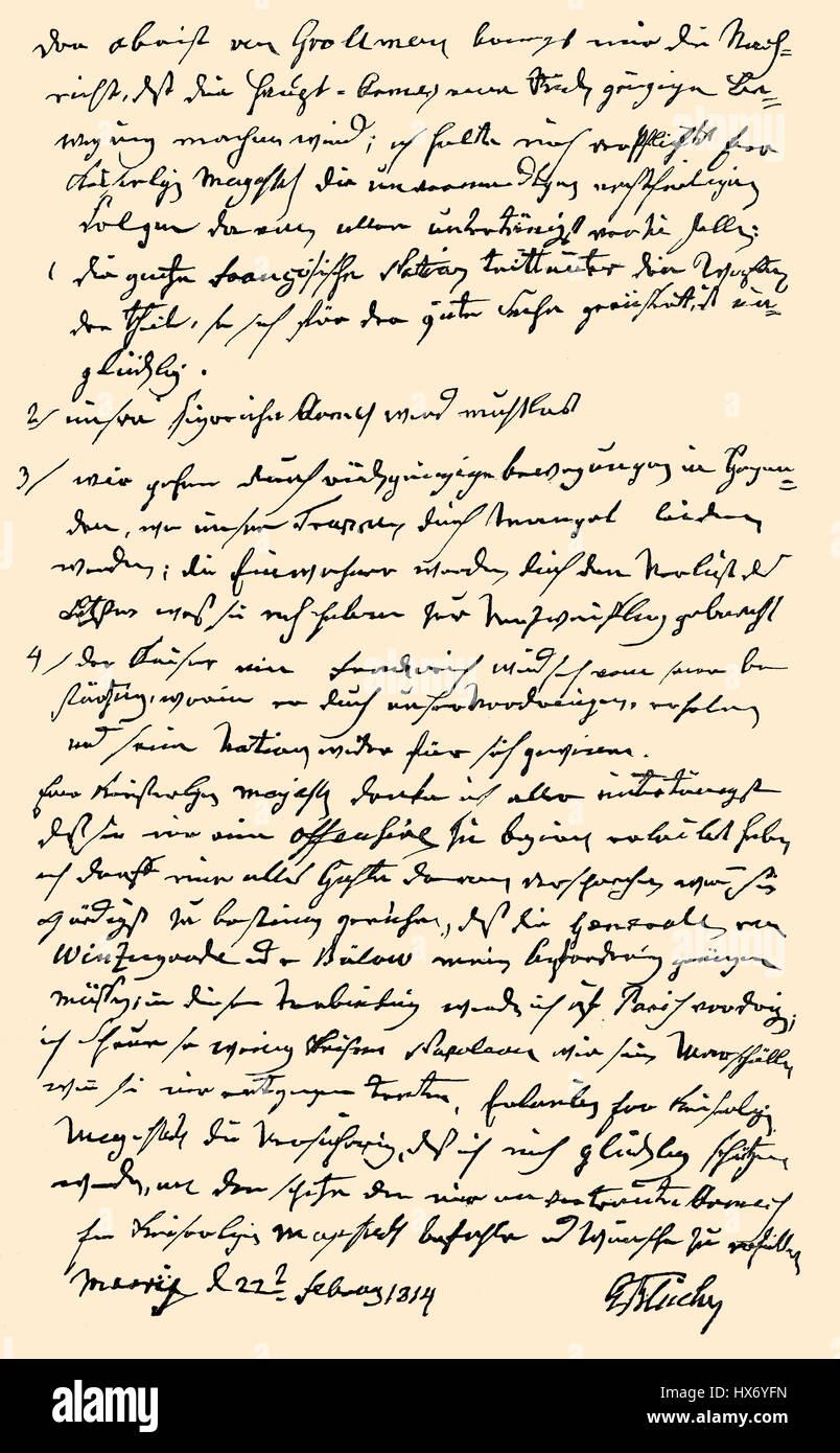 Hand-written letter by Gebhard Leberecht von Bluecher to Alexander I, Emperor of Russia, 1814 Stock Photo