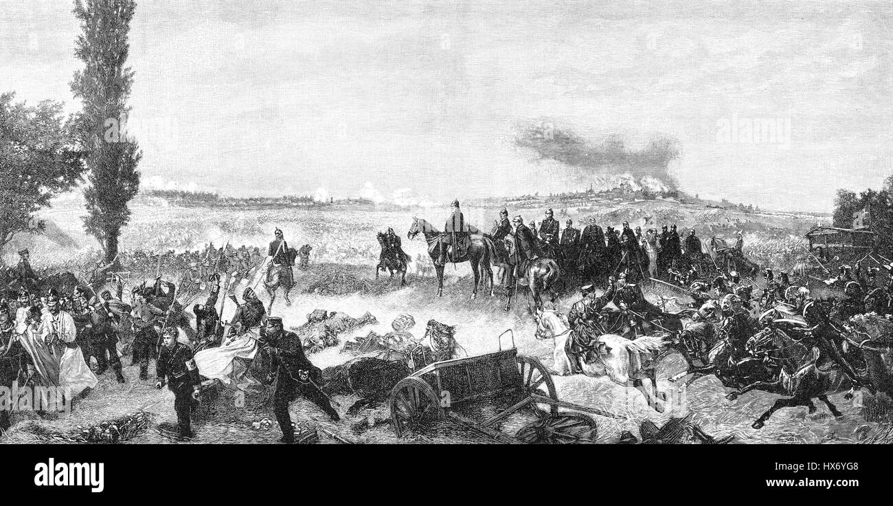 William I at the Battle of Königgrätz or the Battle of Sadowa, Austro-Prussian War, on 3 July 1866 - Stock Image