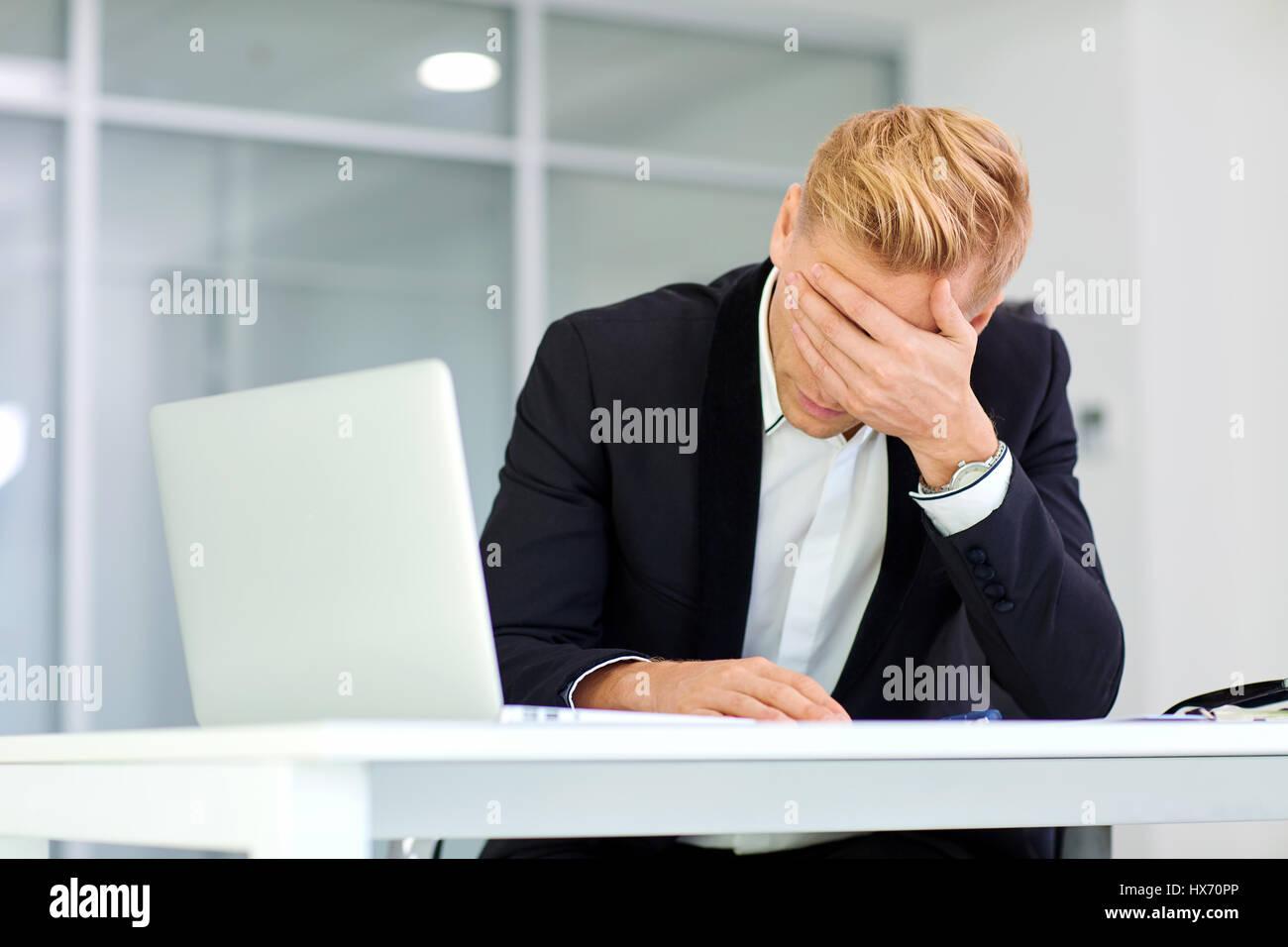 The concept stress crisis depression failure in business. Busine - Stock Image