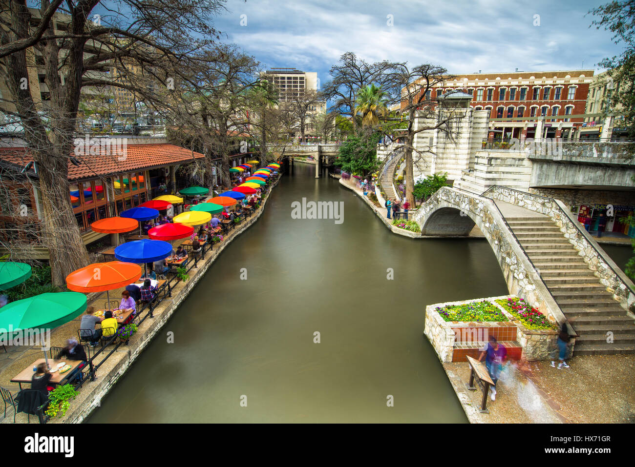 Part Of The San Antonio Riverwalk With Buildings And