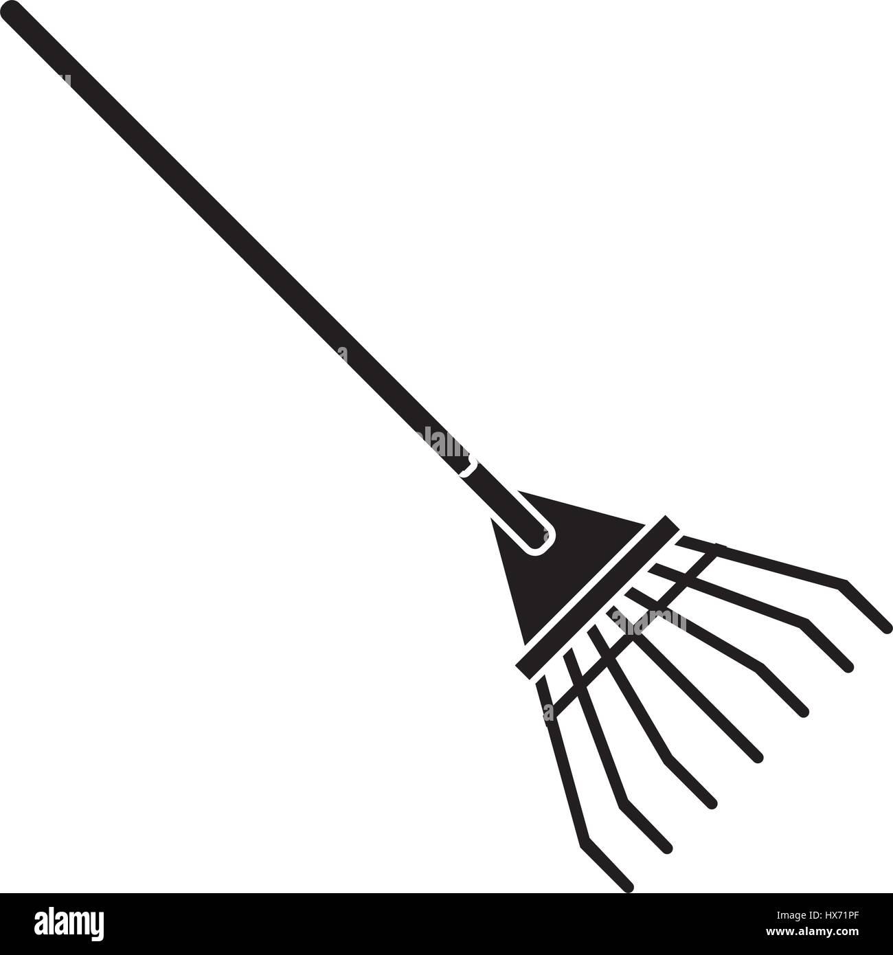 rake tool gardening pictogram Stock Vector