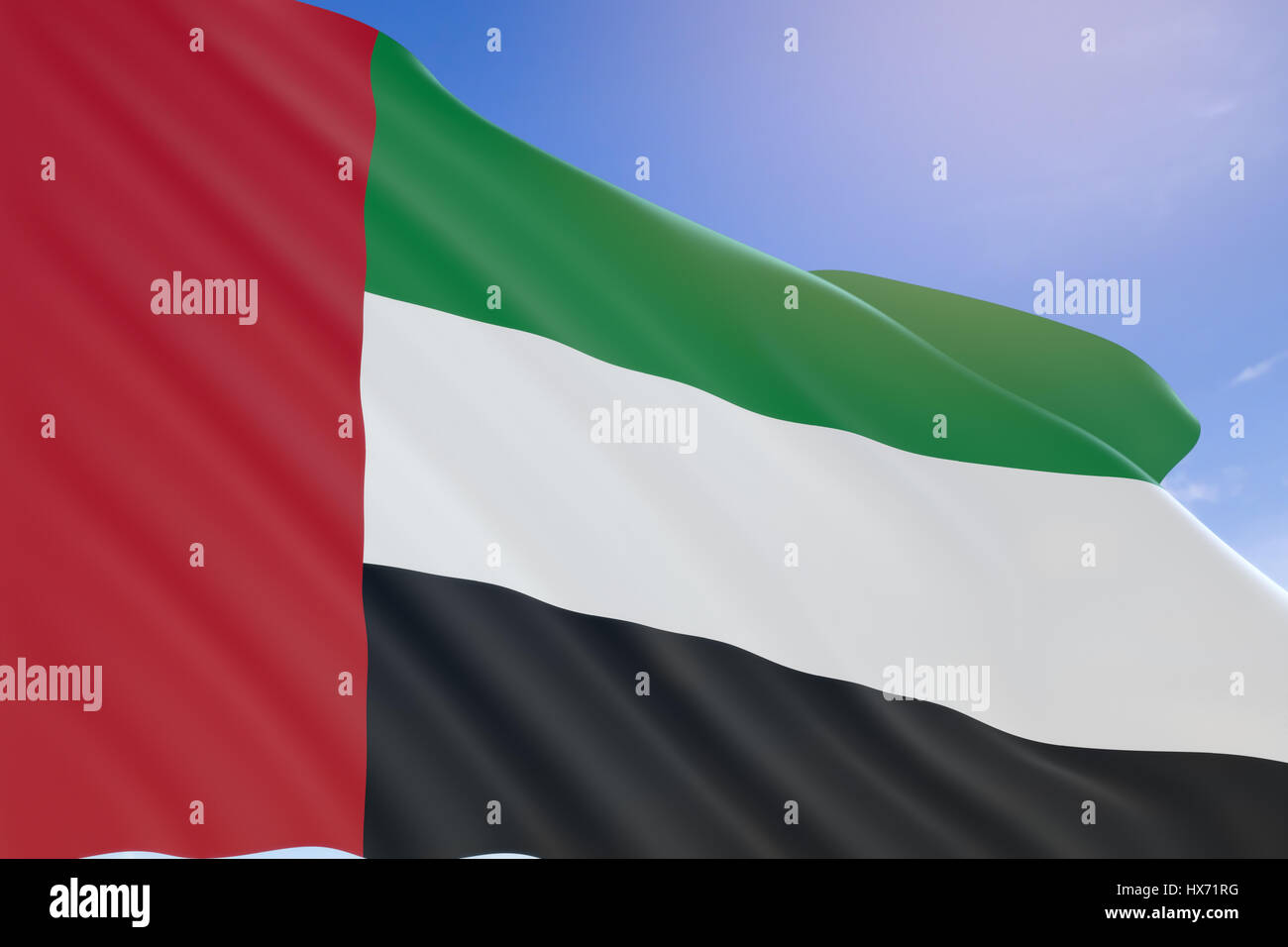 3D rendering of United Arab Emirates flag waving on blue sky background, National Day. Formation of federation of Stock Photo
