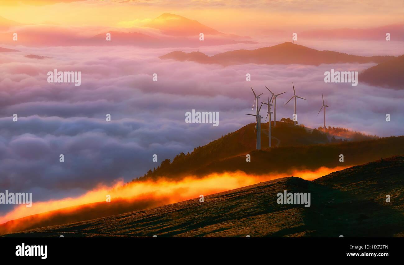 renewable energy with wind turbines - Stock Image