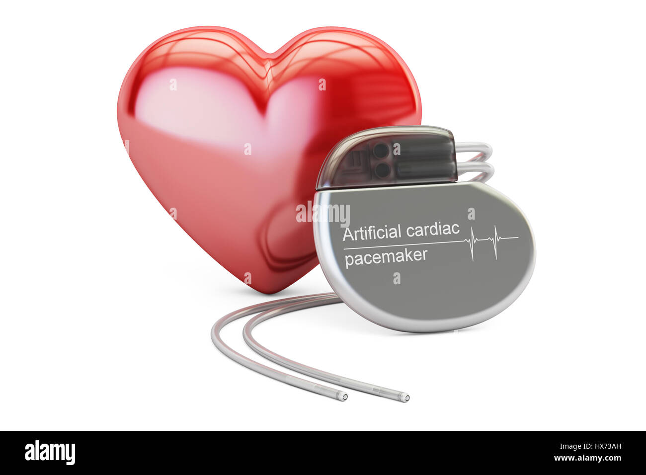 Artificial cardiac pacemaker with red heart, 3D rendering isolated on white background Stock Photo