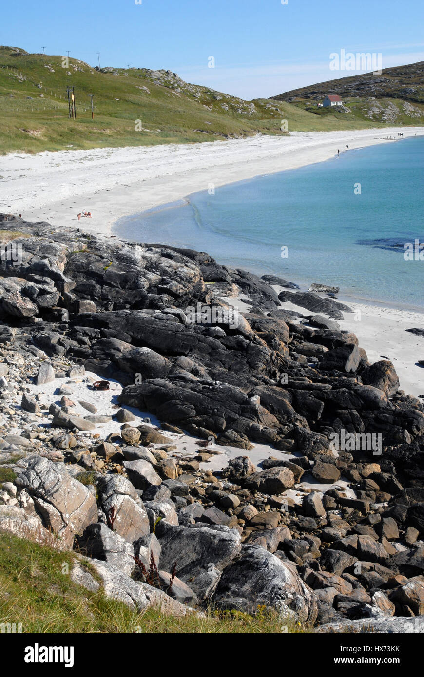 The coast line and beach, Outer Hebrides, South Uist, Scotland, UK - Stock Image