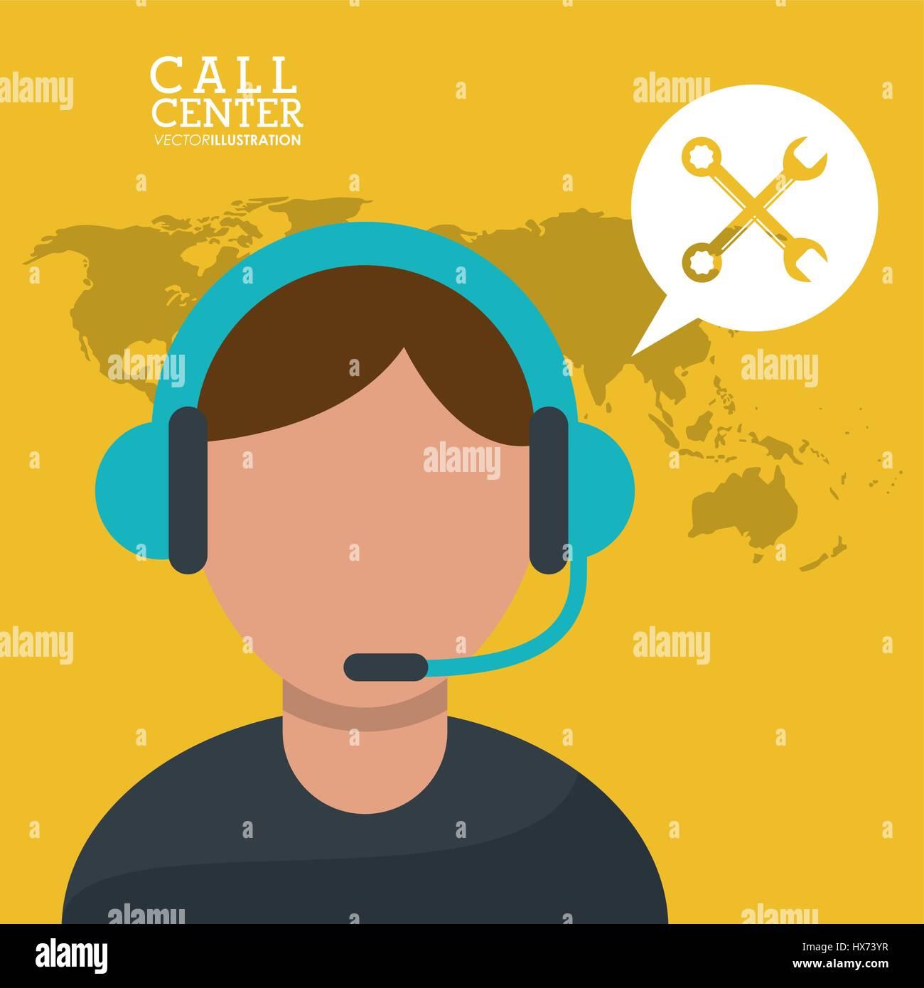 call center man microphone earphones Stock Vector