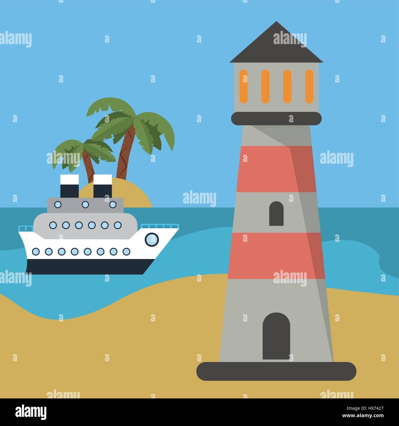 lighthouse ship beach vacation - Stock Vector