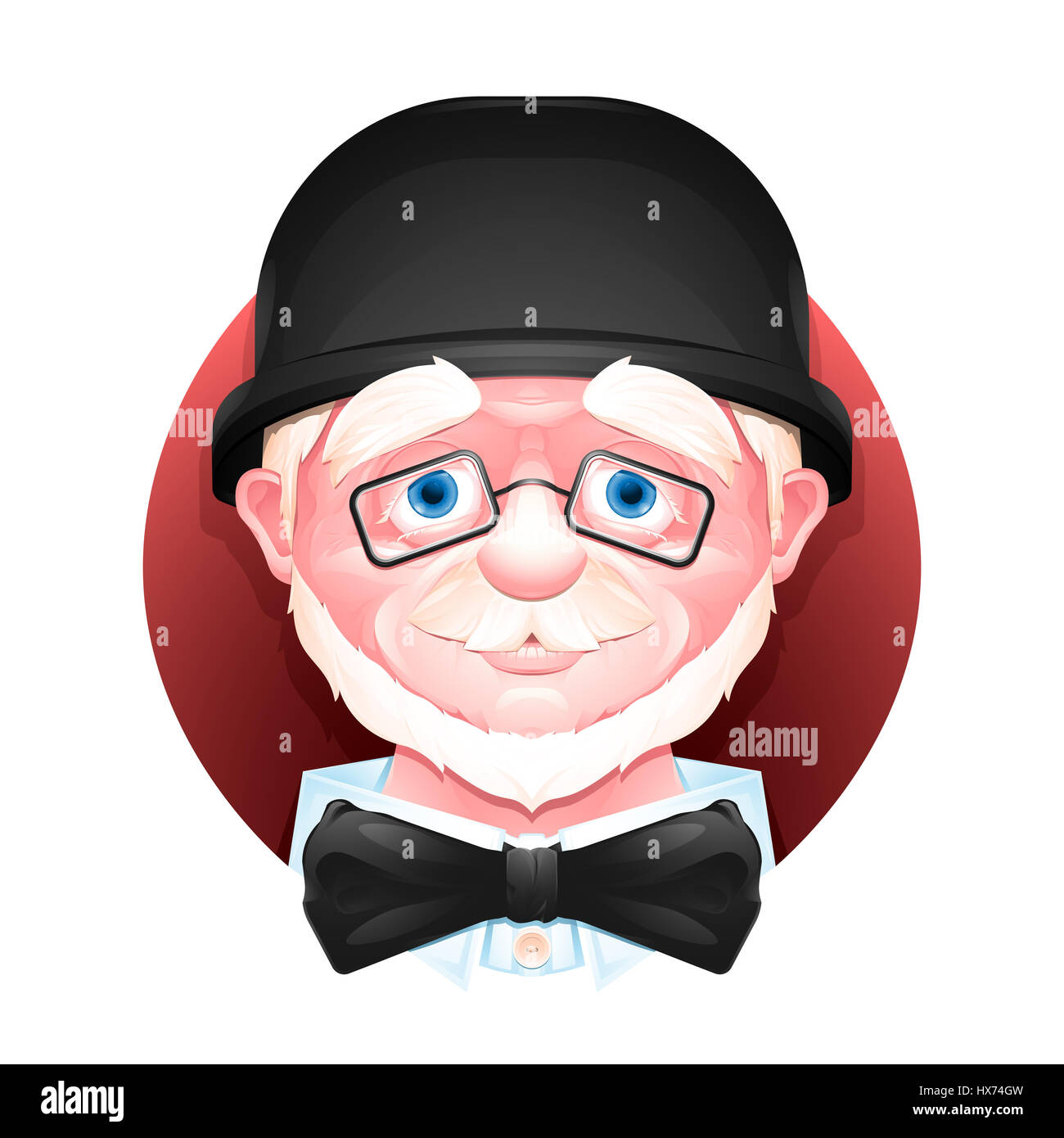 Close up portrait of a charming aged man in a bowler hat, bow tie and glasses. - Stock Image