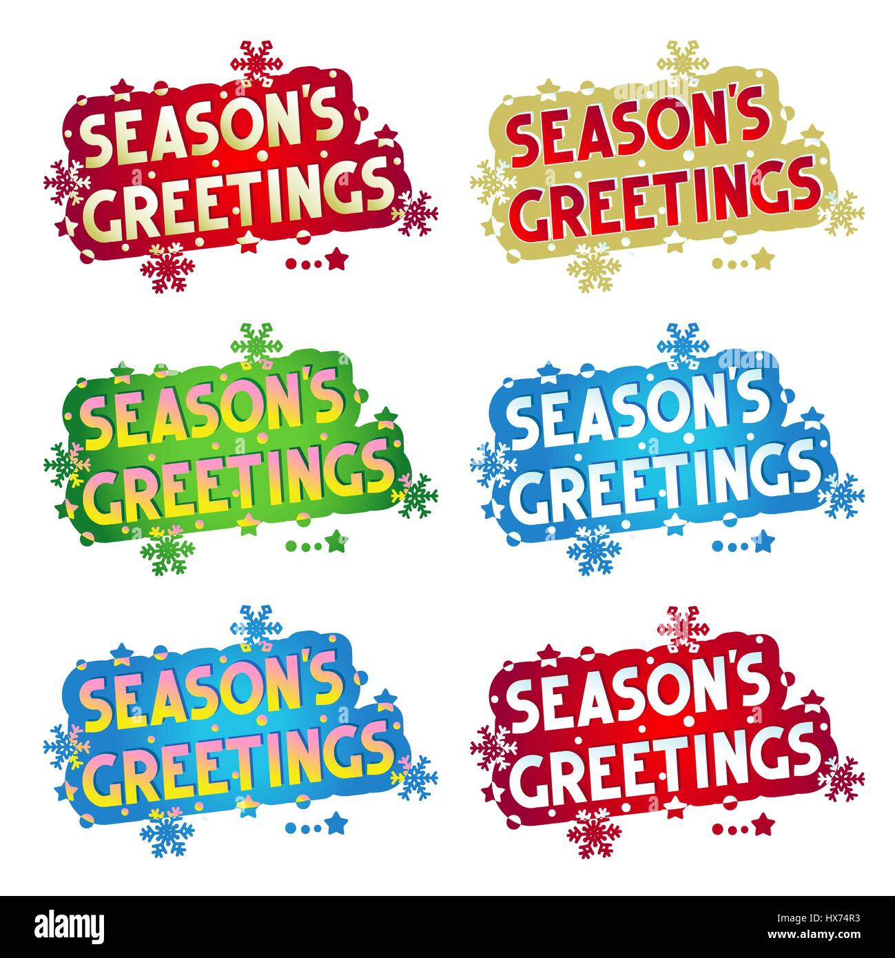 Happy new year greetings wishes stock photos happy new year seasons greetings set of six various colors greetings design elements for cards m4hsunfo