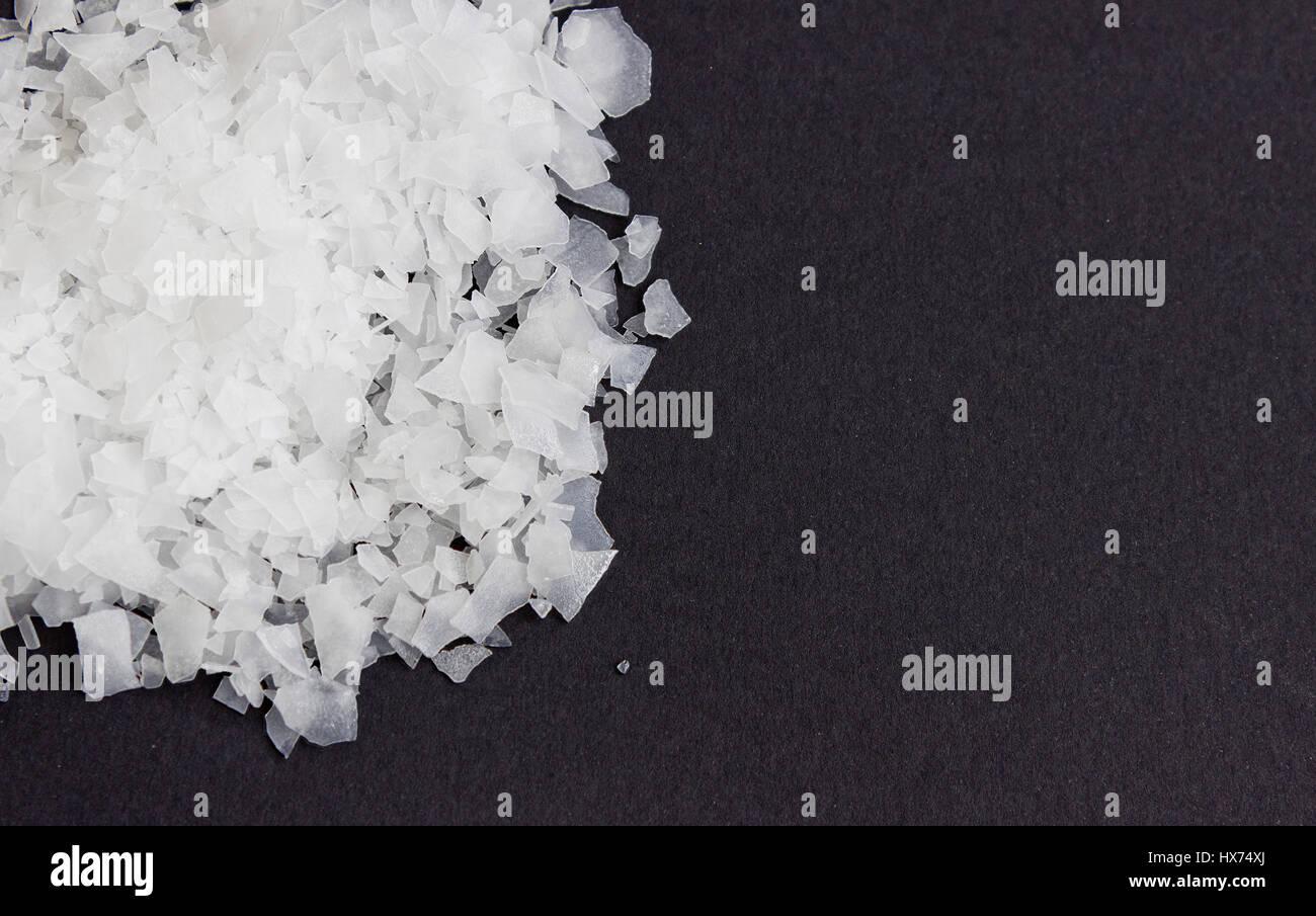Sea salt flakes, nigari, magnesium chloride,top view - Stock Image
