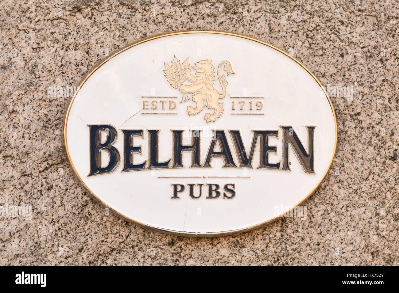 Bellhaven Pub Pubs sign - Stock Image