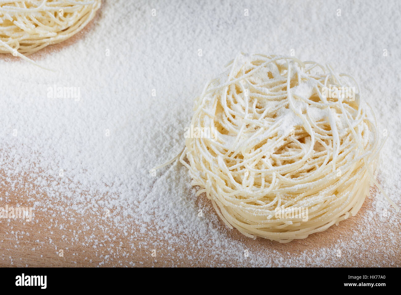 Italian Pasta With White Flour Isolated On Rustic Wooden Background Accessories