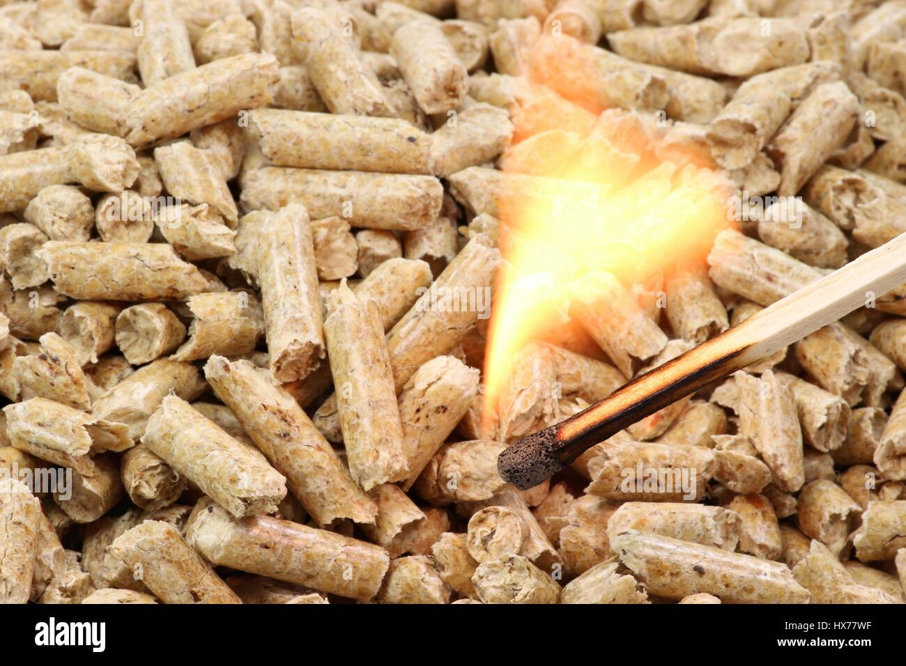 burning matchstick in front of wood pellets - Stock Image