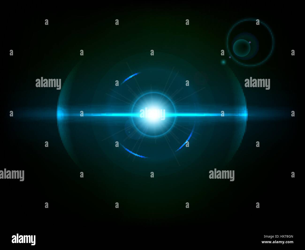 Space explosion, cosmos burst. Colored bang on deep dark background Stock Vector