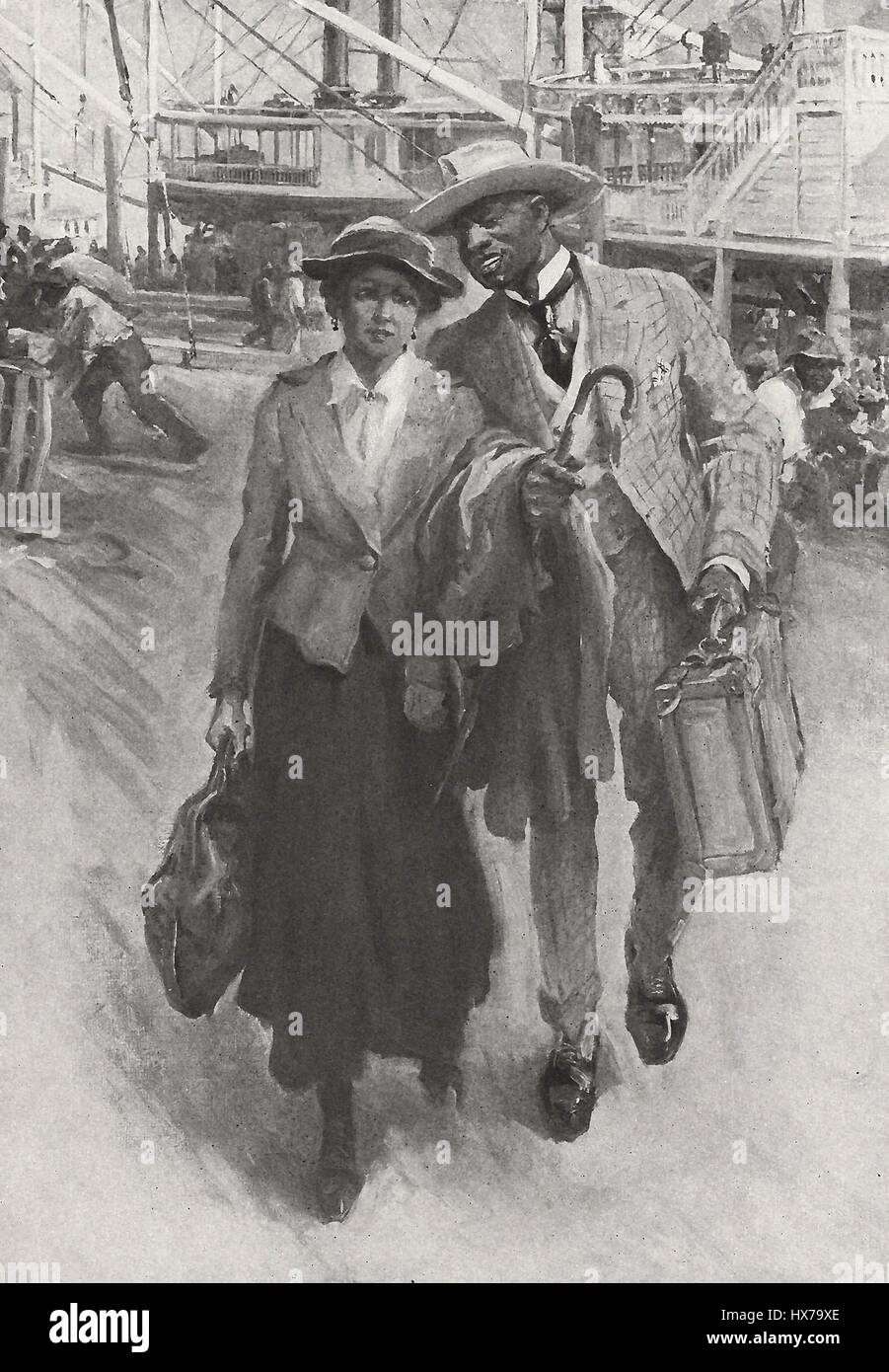 Well Dressed African American Couple departing a Riverboat, circa 1910 - Stock Image