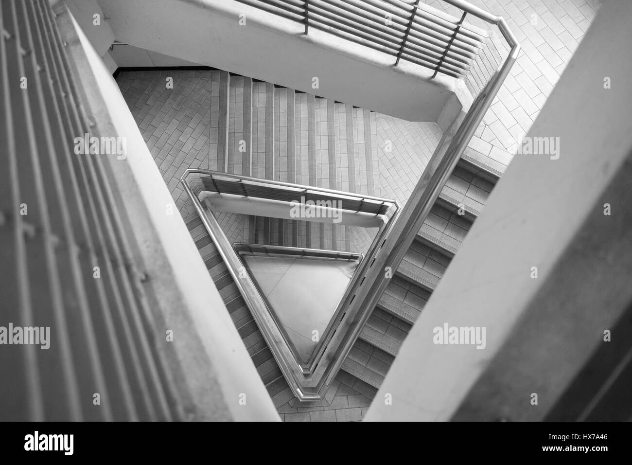Triangular Stair Case Architectural Style Looking Up