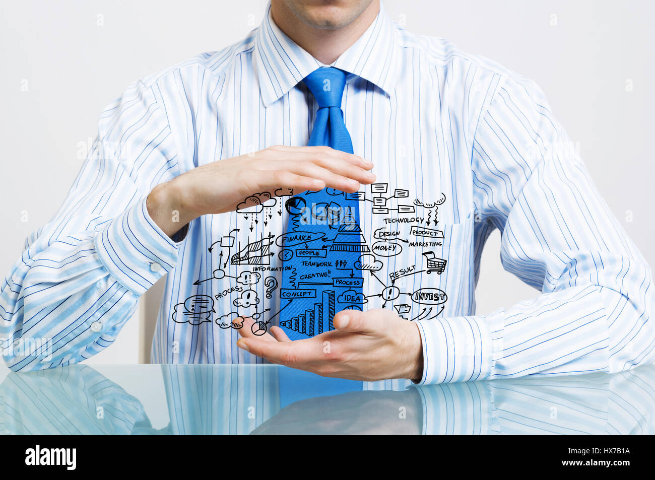 Businessman demonstrate his business plan - Stock Image