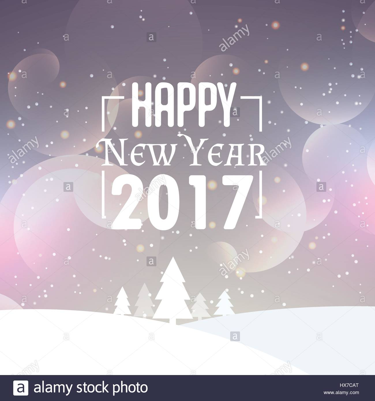beautiful snowy background with 2017 new year wishes Stock Vector ...